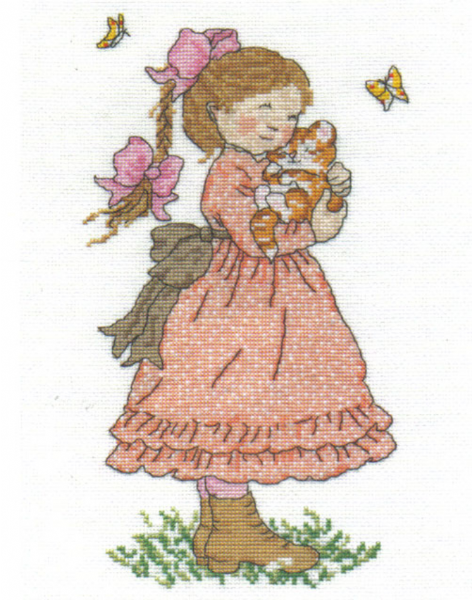 Sarah Kay Cuddling Cat Cross Stitch Kit